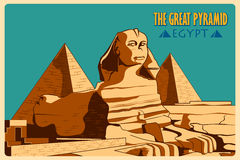 Vintage poster of Sphinx and Pyramids in Giza famous monument in Egypt Royalty Free Stock Photos