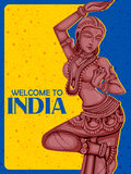 Vintage Poster Statue of Indian female Sculpture Stock Photos