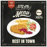 Vintage Poster.steak menu. Set on the chalkboard.Design in retro Royalty Free Stock Images