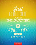 Vintage poster with summer vacation quote Stock Image