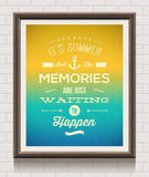 Vintage poster with summer vacation quote Royalty Free Stock Images