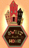 Vintage poster sweet home.Cartoon concept card with houses and trees in retro colors Stock Photos