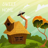 Vintage poster sweet home. Summer landscape with little house and tree. Stock Photos