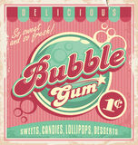 Vintage poster template for bubble gum. Retro vector design concept for chewing gum Royalty Free Stock Image
