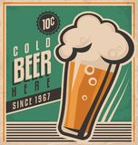 Vintage poster template for cold beer Stock Image
