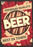 Vintage poster template for cold beer Stock Images