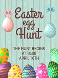 Vintage poster template with place for your text and illustrations of easter eggs. Vector banner easter egg hunt event Stock Images