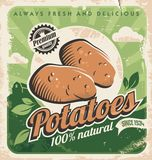 Vintage poster template for potato farm stock illustration
