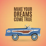 Vintage poster template with toy pedal car. Royalty Free Stock Photo