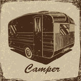 Vintage Poster with Trailer, Vehicles Camper Vans Caravans typographic, silhouette trailer, caravan. Print for textile Royalty Free Stock Photography