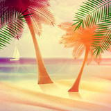 Vintage poster of tropical beach. Stock Photography