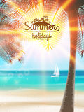 Vintage poster of tropical beach. Stock Images