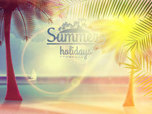 Vintage poster of tropical beach. Stock Photo
