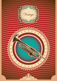 Vintage poster with trumpet. Vintage poster with illustrated trumpet Stock Image