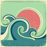 Vintage poster. Vector abstract seascape poster wit. H sea waves and sun on old poster