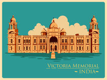 Vintage poster of Victoria Memorial in Kolkata famous monument of India Stock Photos