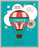 Vintage poster with vintage air balloon, fun fair stock illustration