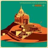 Vintage poster of Vivekananda Rock Memorial in Kanyakumari famous monument of India Royalty Free Stock Image