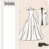 Vintage poster with with a wedding dress. Vector illustration EPS10 Royalty Free Stock Image