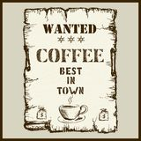 Vintage poster in Wild West style - wanted coffee best in town Royalty Free Stock Photo