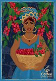 Vintage poster with woman coffee farmer picking red coffee beans on coffee tree Stock Image