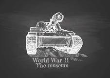World War II. Vintage poster. World War II, the museum. Heavy tank on chalkboard stock illustration