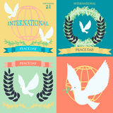 Vintage posters for the International Day of Peace Stock Image