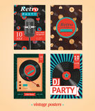 Vintage posters set. Vintage backgrounds. Four templates for vintage party stock illustration