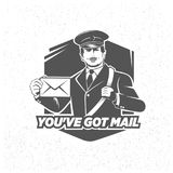 Vintage postman symbol, illustration. Mail vector stamp. Vector objects with texture Stock Image