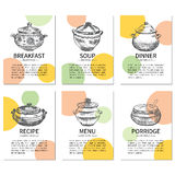 Vintage pots, Recipe hand drawn template, vector page menu design, kitchen background, vector illustrations, Sketches. Labels  on white background for banner Royalty Free Stock Images
