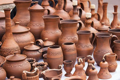Vintage pottery pots with ornament Royalty Free Stock Photo