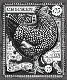 Vintage Poultry and Eggs Advertising on Blackboard Royalty Free Stock Photos