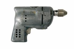 Vintage Power Drill on White Stock Images