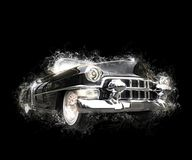 Vintage powerful black car - 3D illustration. Isolated on black background Stock Image