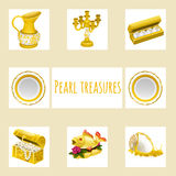 Vintage and precious treasures, seven icon Stock Photos