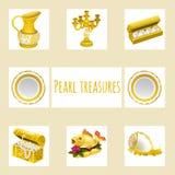 Vintage and precious treasures, seven icon Stock Photos