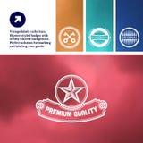 Vintage premium labels set on tile structured Stock Images
