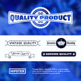 Vintage premium labels set on tile structured layout and blurred background Royalty Free Stock Images