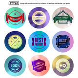 Vintage premium labels set on tile structured layout and blurred circles Royalty Free Stock Image