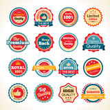 Vintage Premium Quality Color Badges. Best quality limited edition and guaranteed money back round black and white badges collection isolated vector illustration Stock Illustration