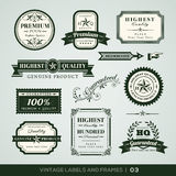 Vintage Premium Quality and Guarantee Labels and Frames. Collection of Premium Quality and Guarantee Labels with retro vintage styled design Royalty Free Stock Photo