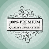 Vintage 100% premium quality guaranteed label. Icon.  from background. layered Stock Images