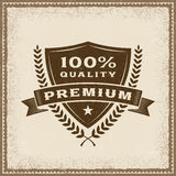 Vintage Premium 100% Quality Label. In woodcut style. Editable EPS10 vector illustration with transparency Stock Photography