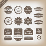 Vintage premium quality labels set. Stock Image