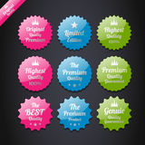 Vintage premium quality labels set. Stock Photo