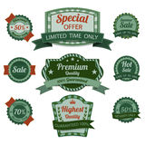 Vintage premium quality labels set. Vector Stock Photos