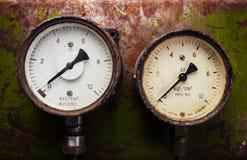 Vintage pressure meter Stock Photo