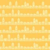 Vintage pretty town yellow outline pattern Stock Photo