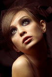 Vintage pretty young woman Royalty Free Stock Photography