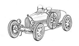 Vintage prewar sportscar. Racecar, hand drawn Royalty Free Stock Photo
